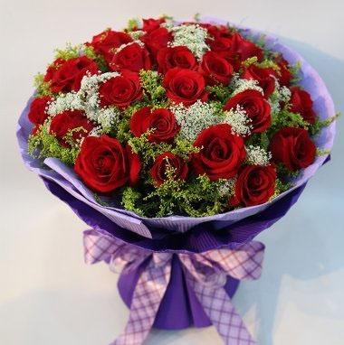3枝红玫瑰花束 缘定三生
