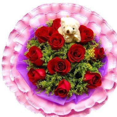 玫瑰花束 爱情勿忘我 11枝红玫瑰搭配小熊